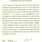 Lord Bhikhu Parekh Letter